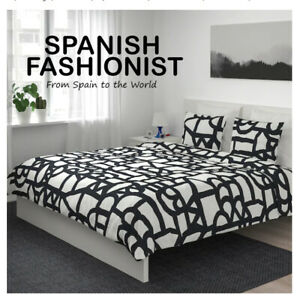 IKEA-SKUGGBRACKA-Quilt-cover-and-2-pillowcases-white-black-240x220-50x60-cm