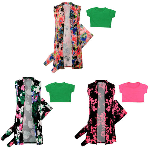 Kids Girls Floral Sleeveless Duster Jacket Plain Crop Top Set Age 7-13 Pants
