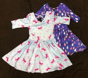 NEW Dot Dot Smile Ballerina Twirly Bundle of 2 Dresses 3/4 Sleeve Knit Girls
