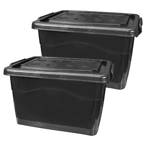 2er pack kunststoffbox mit deckel 40l schwarz aufbewahrungskiste plastikbeh lter ebay. Black Bedroom Furniture Sets. Home Design Ideas
