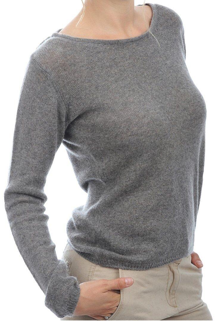 Balldiri 100% Cashmere Damen Pullover Rundhals 2-fädig graubraun meliert S