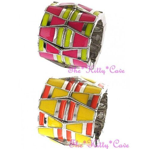 Retro Bright Colour Block Geometric Shapes Enamel Big Wide Finger Cuff Flex Ring