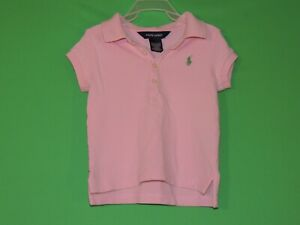 Polo-Ralph-Lauren-Girls-Youth-Size-2-2T-Pink-Short-Sleeve-Polo-Shirt
