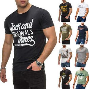 Jack-amp-Jones-T-Shirt-Hommes-Print-Shirt-Manches-Courtes-Shirt-Short-Manche-Casual-SALE