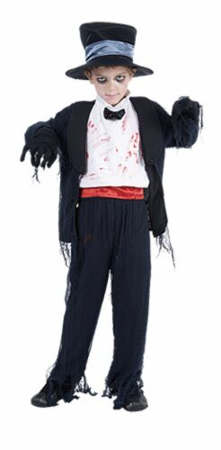 DELUXE ZOMBIE GROOM BOYS HALLOWEEN FANCY DRESS COSTUME PARTY HORROR SIZE 4-14 YR