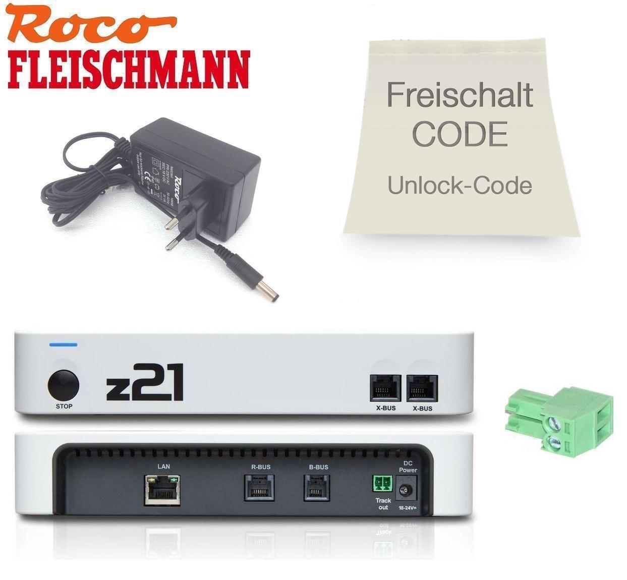 Roco   Fleischmann 10825 Z21 Démarrer + Roco 10818 Z21 Code de Déblocage - Neuf