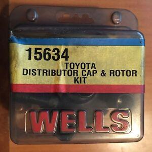 WELLS-15634-TOYOTA-DISTRIBUTOR-CAP-amp-ROTOR-KIT