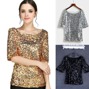 4096b0733b Details about Women Sequined Glitter Shirt Top Half Sleeve Loose Baggy  Blouse Top Plus Size