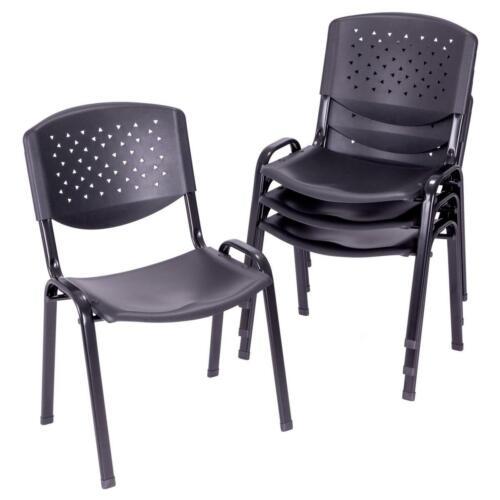 Besucherstuhl 4er Set Konferenzstuhl schwarz stapelbar Kunststoff 48 x 54 x 79cm