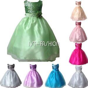 Maedchen-Kleid-Paillette-Kommunionskleid-Hochzeit-Brautjungfern-Kleid-Gr-104-140