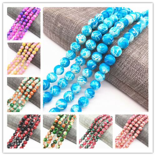 4//6//8mm Double Color Glass Beads Loose Spacer Painted Charm DIY Jewellery Making