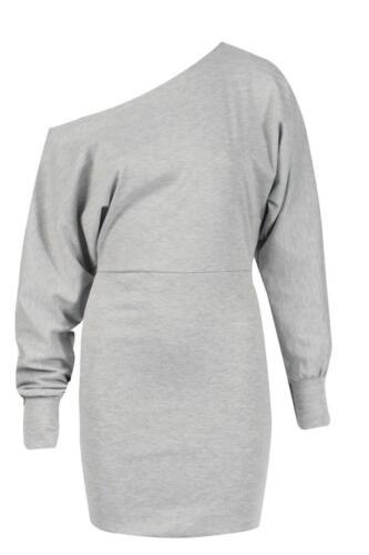 Ladies Off Shoulder Ponte Long Sleeve Cuffed Batwing Mini Dress Top Jumper Celeb