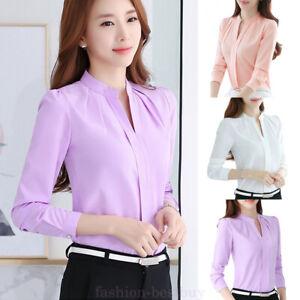 outlet hot product best sale Women Chiffon Shirt Tops Long Sleeve Work Formal Office Uniform ...