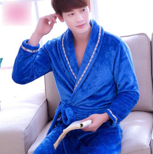 Men Soft Cozy Nightwear Sleepwear Flannel Coral Pajama Gown  Thick Warm Bathrobe