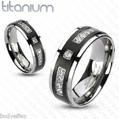 BOLD MENS SOLID TITANIUM SILVER BLACK IP COMFORT FIT WEDDING BAND RING CLEAR CZ