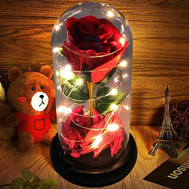 LED Light Red Rose Gift Flower Girlfriend Boyfriend GF Him Her Birthday Present