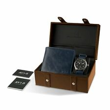 NEW AVI-8 AV-SET2-05 Men's Flyboy Gift Set Black Dial Blue Leather Watch/Wallet