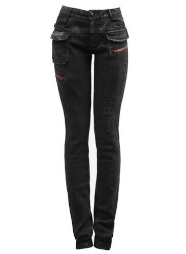 Rave Destroyed Kei Jeans Pantaloni Punk Donna Moda Gothic Nero TXqPAnf