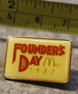 McDonalds Founders Day 1987 Employee Collectible Pin Button