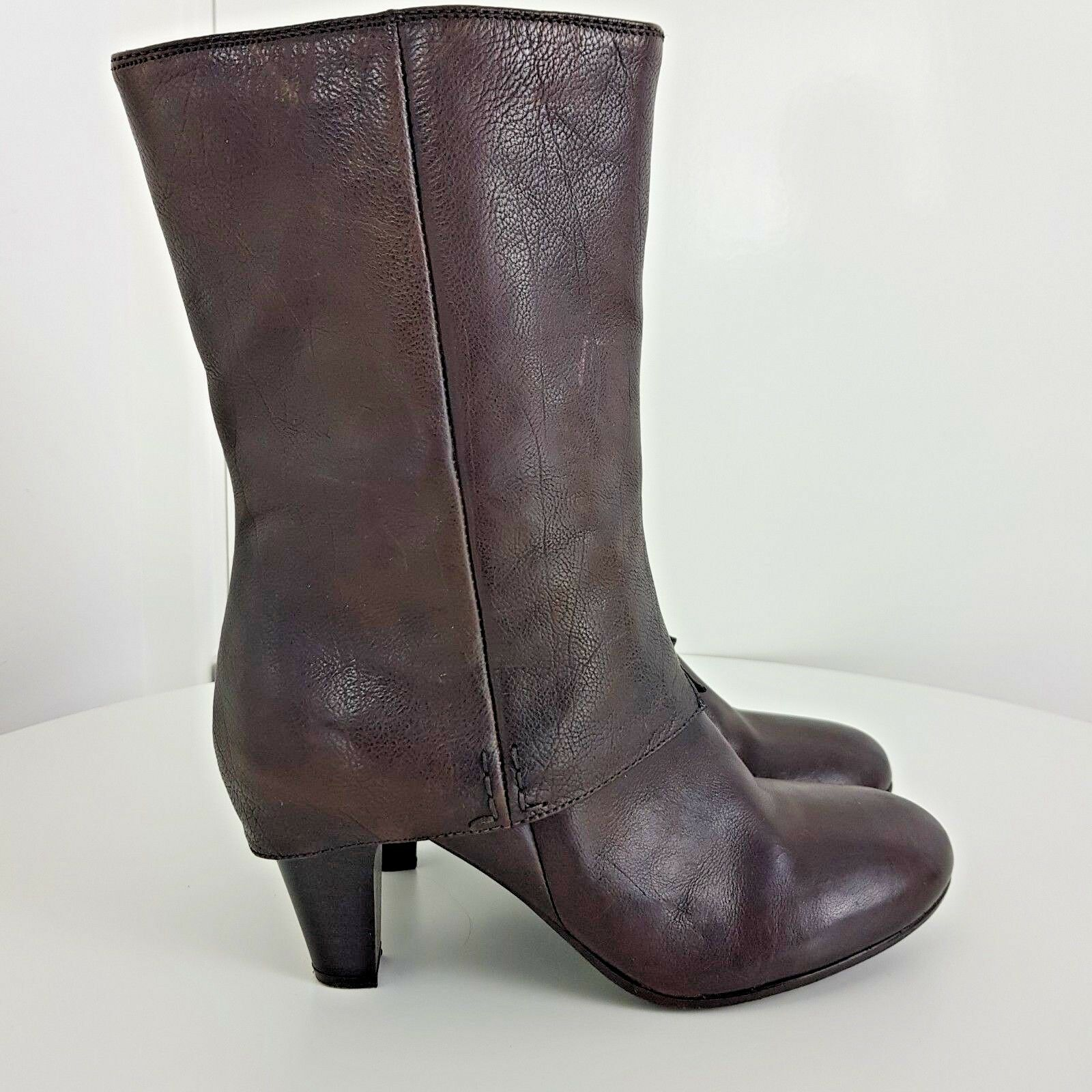 Clarks bottes Leather Calf Heels chaussures Zipped Dusty marron Taille UK 6.5 EU 39.5