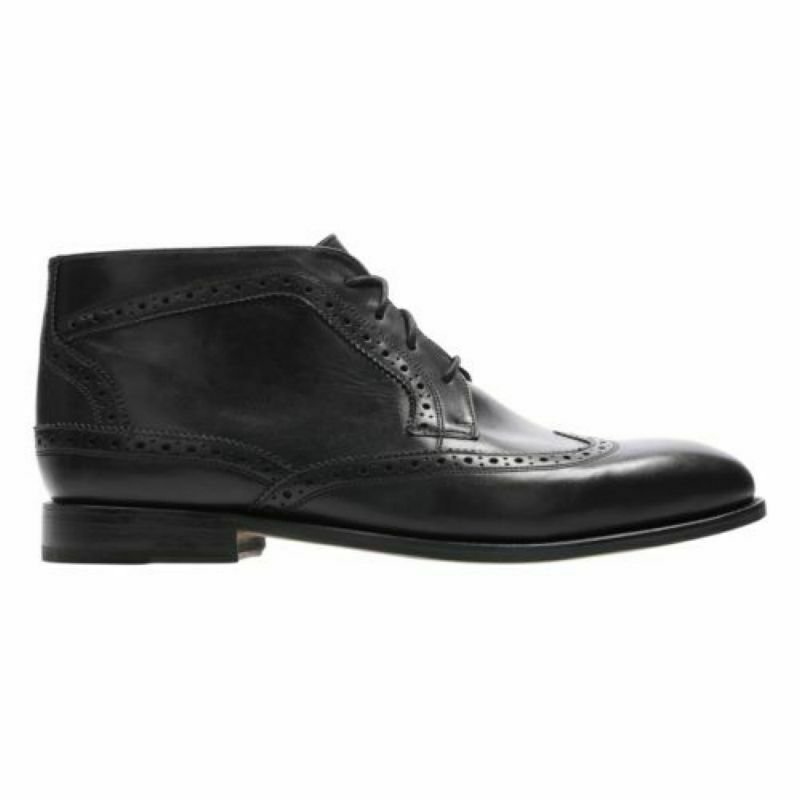 NEW CLARKS ELLIS MID BOOTS BLACK LEATHER OXFORD DESIGN BROGUE STYLE 42 UK 8