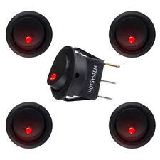 5pcs Dc 12v Car Dot Auto Boat Round Rocker Red Led Light Spst Switch On Off