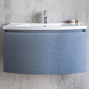 Mobile bagno sospeso blu oceano 80 cm opaco con lavabo for Cassettone bagno