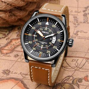 YISUYA-Date-Display-Men-039-s-Military-Quartz-Movement-Wrist-Watch-Leather-Strap