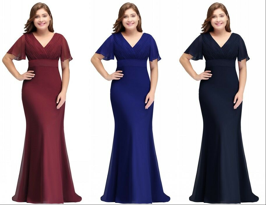 Evening Long Prom Dress Formal Party Ball Gown Bridesmaid Mother Gown Plus Size