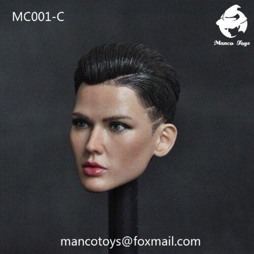 """MC001-C 1//6 Female Bodyguard Head Sculpt Ruby Rose Carving Fit 12/"""" Action Figure"""