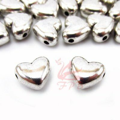 Heart Shaped 11mm Antiqued Silver Plated Spacer Beads B1358-10 20 Or 50PCs