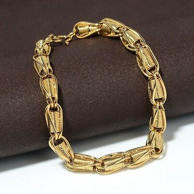 """Women/'s Bracelet Unique Chain 18K Yellow Gold Filled 7.7/"""" Link Fashion Jewelry"""