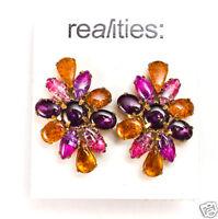 Liz Claiborne Realities Mardi Gra Goldtone Clip Earrings $45 Signed