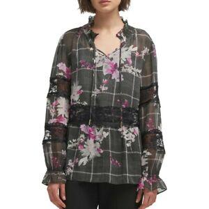 DKNY-NEW-Women-039-s-Lace-trim-Printed-Sheer-Blouse-Shirt-Top-TEDO