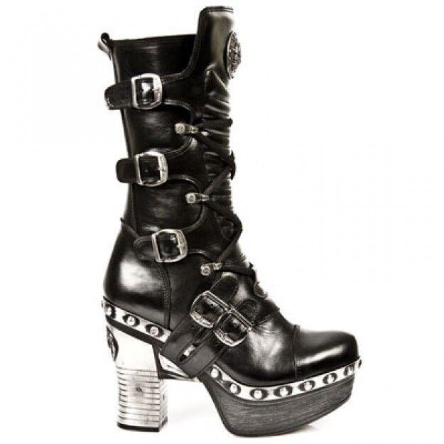 Newrock new rock Z006-C5 femmes noir cuir boucle dentelle mi-mollet fermeture éclair bottes
