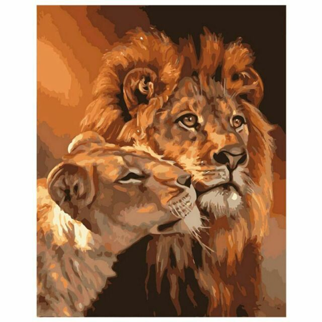 Lion Kings DIY Coloring Oil Painting Paint By Numbers Kits Drawing Paint On Y5Q3