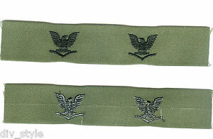 Petty-Officer-3rd-Class-collar-insignia-subdued-one-pair-mint-condition-US-Navy