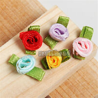 100pcs Mix Color Satin Ribbon Rose Flower Leaf Appliques Sewing DIY 17x9mm 7071