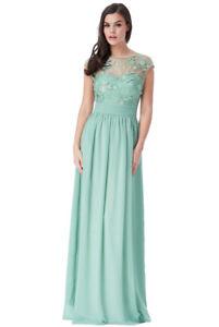 save off bc477 e409b Dettagli su Vestito donna lungo impero verde acqua ricami floreali  cerimonia damigella nozze