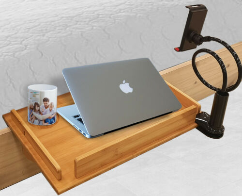 """Bedside Laptop Stand Wide Nightstand Shelf Tray 12x19/"""" Phone Holder Included"""