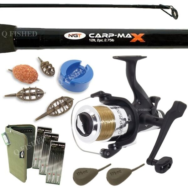 CARP ROD FEEDER SET 2pc CARP MAX ROD WITH METHOD FEEDERS WEIGHTS HAIR RIGS NGT