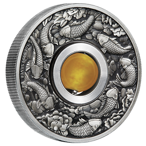 Australia-GOOD-LUCK-ROTATING-Yellow-Topaz-CHARM-2018-1-1oz-Silver-Antiqued-Coin