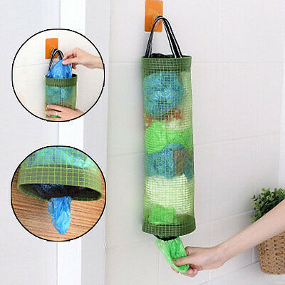 Grocery Bag Holder Wall Mount Storage Dispenser Plastic Home Kitchen Using Tool