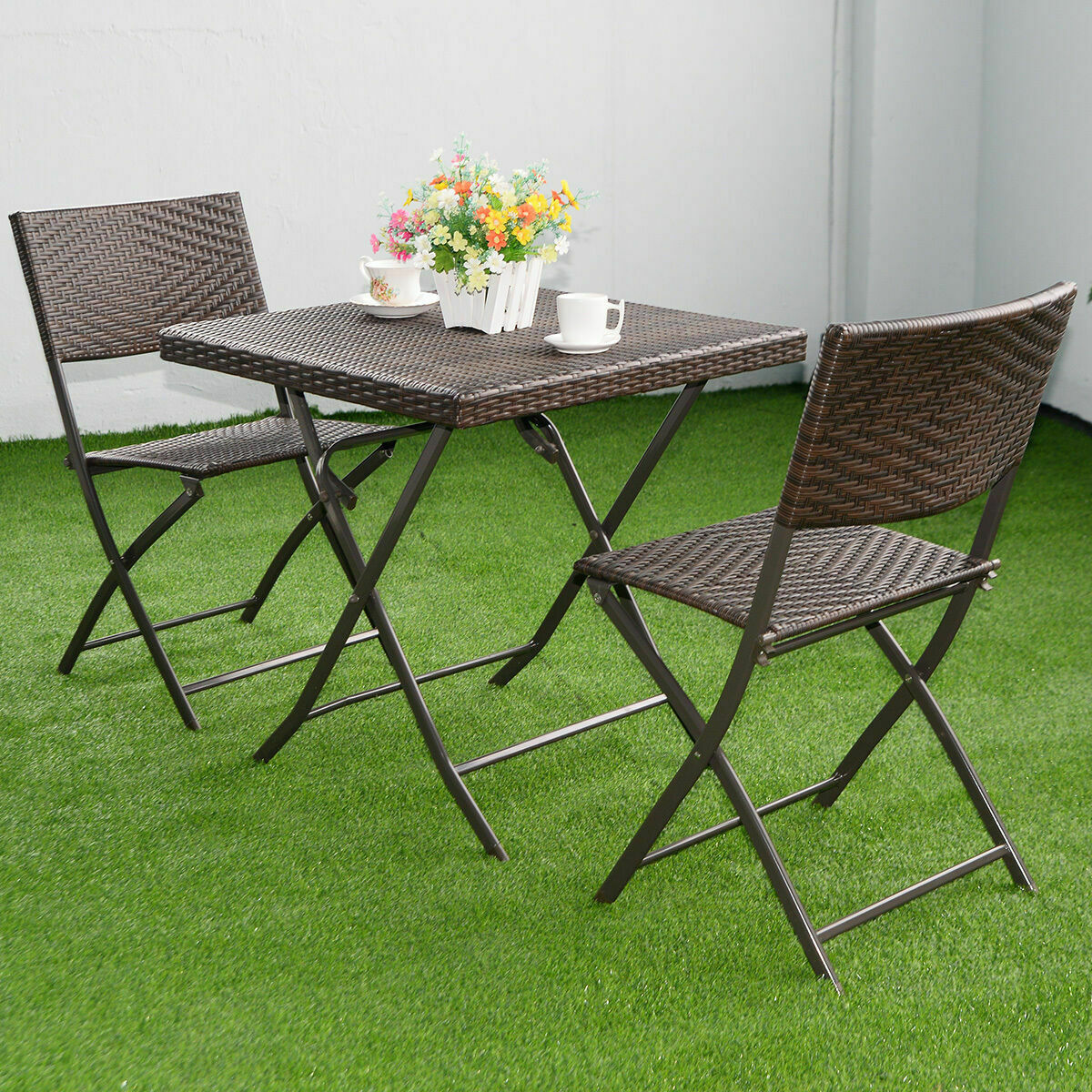 3 Pc Brown Outdoor Folding Table Chair Furniture Set Rattan Wicker Bistro Patio