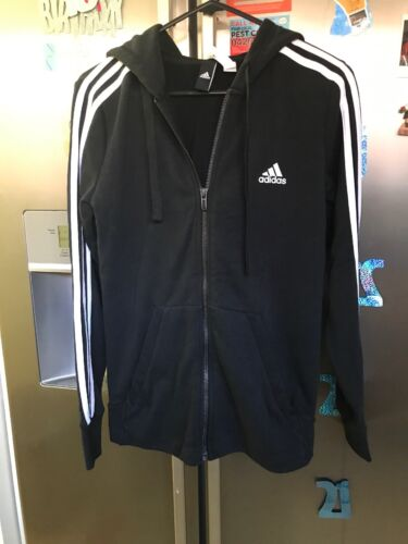 Adidas Ladies Hoodies Pre Owned Black With White Stripes Adidas Signature