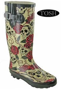 Womens Wellingtons Skull Roses Printed Rain Snow Festival Adjustable Calf UK 3-9