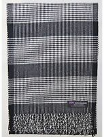 100% Cashmere Scarf Black White Check Tartan Plaid Warm SCOTLAND Wool Women R5