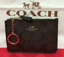 NEW COACH Signature  PVC Key Pouch Wallet Brown/Black F63923 $65