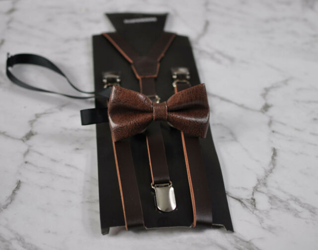 Boys Kids Coffee Brown Faux Leather Bow tie and Adjustable Suspenders Braces