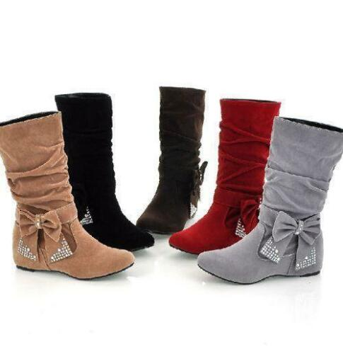 New Fashion Womens Alluring Wedge Heel Mid-Calf Bowknot Boots Slouch Shoes b491